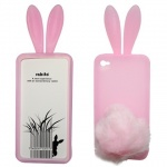 Capa Celular Apple iPhone 4G 4S - Rabito Coelho Pink Rosa