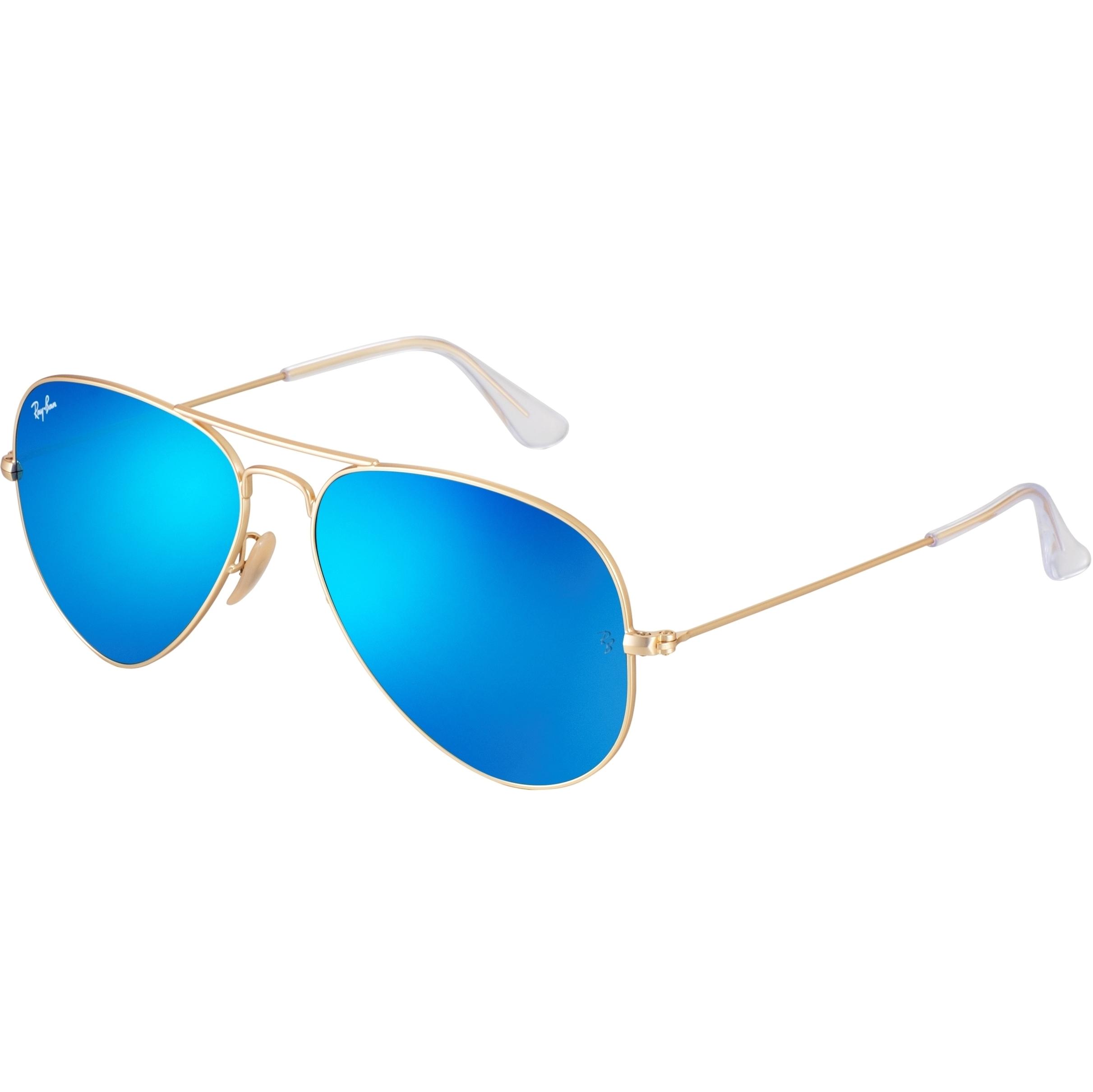 Óculos Ray Ban Aviador - Modelo Unissex com Armação Dourada e Lentes  Espelhadas Azul 1feea8d614
