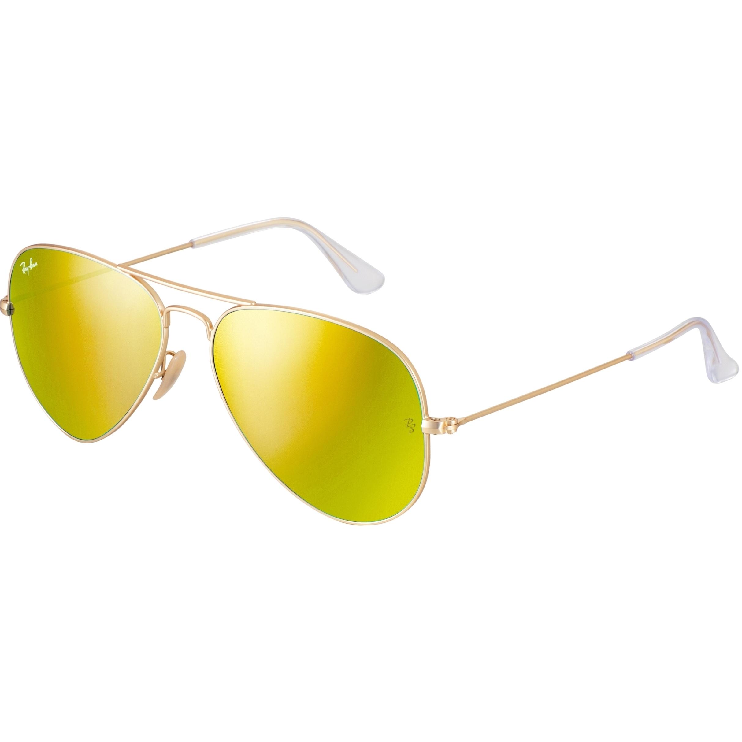 a66727a3f3718 Óculos Ray Ban Aviador - Modelo Unissex com Armação Dourada e Lentes  Espelhadas Amarelo
