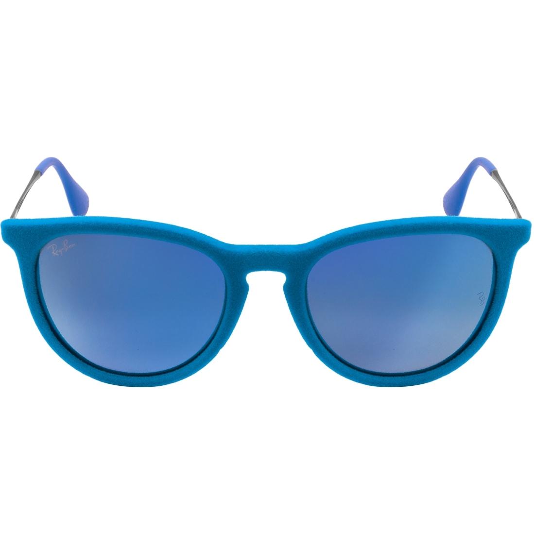 Atacados 25    Óculos Ray Ban Erika Velvet 4171 - Modelo Feminino com Armação  Azul Veludo Lentes Espelhadas fd196eb40f