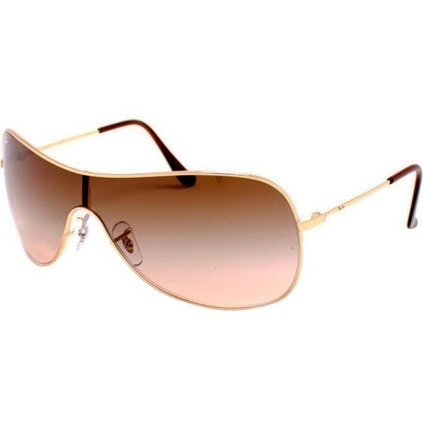 91738735ecbe0 Óculos Ray Ban Máscara 3211 - Modelo Unissex com Armação Dourada e Lentes  em Policarbonato Marrom