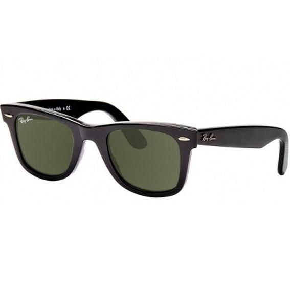 9a1a07a03 Atacados 25 :: Óculos Ray Ban Wayfarer 2140 - Modelo Unissex com Armação  Preta e Lentes em Policarbonato Verde