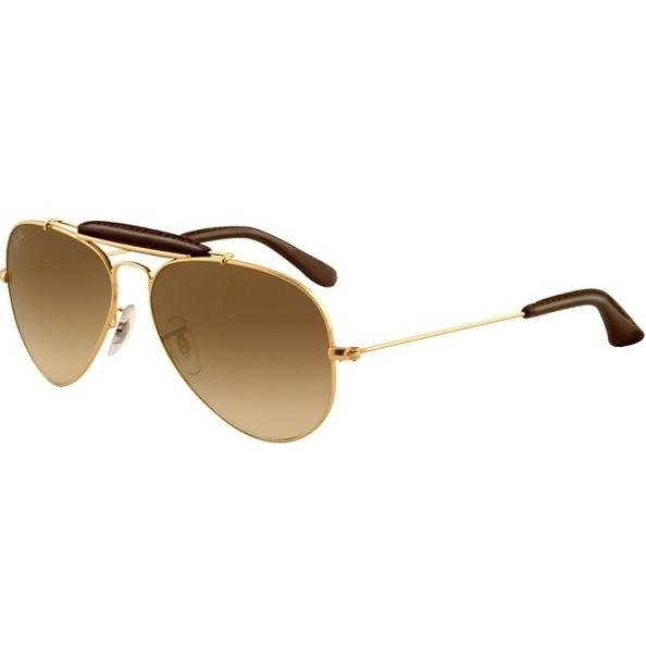 09a320ad03 Atacados 25 :: Óculos Ray Ban Caçador Q Craft 3422 - Modelo Unissex com  Armação Dourada e Lentes Cristalizadas Marrom Degradê